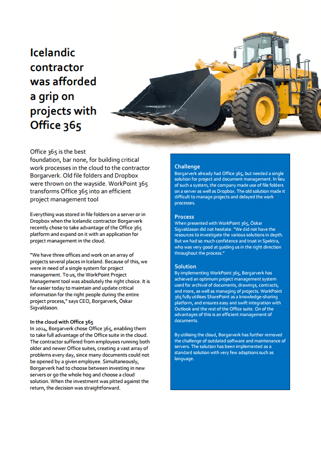 icelandic contractor was afforded a grip on projects with office 365
